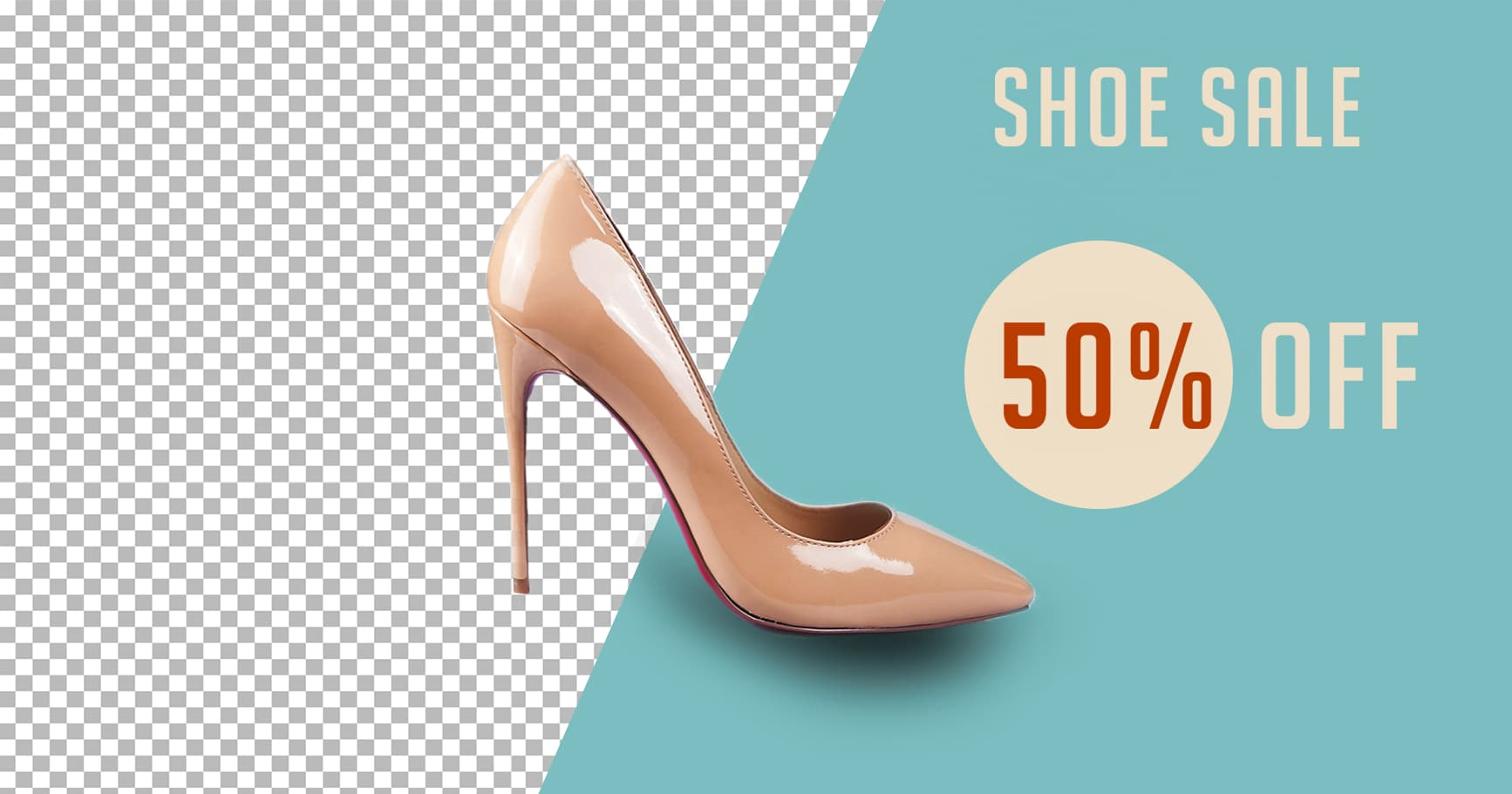 Background eraser, shoe promotion for a website, shoe sale ad
