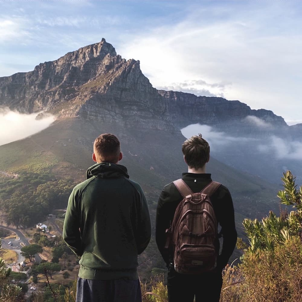 Adjust tool, color correction, two men and a mountain, adjust image, color correct