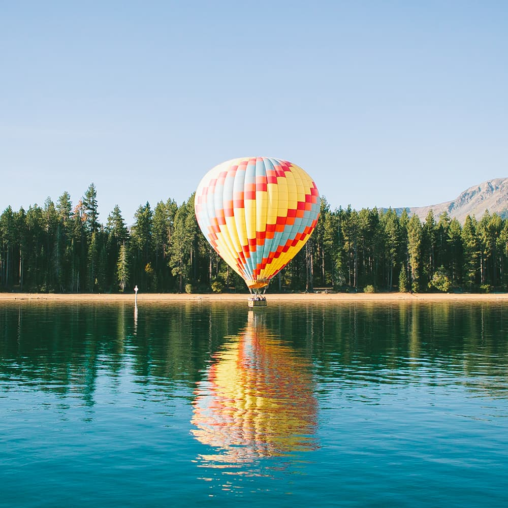Cloning an object in a photo, clone stamp, air balloon cloning, forest, balloon, sea, reflection