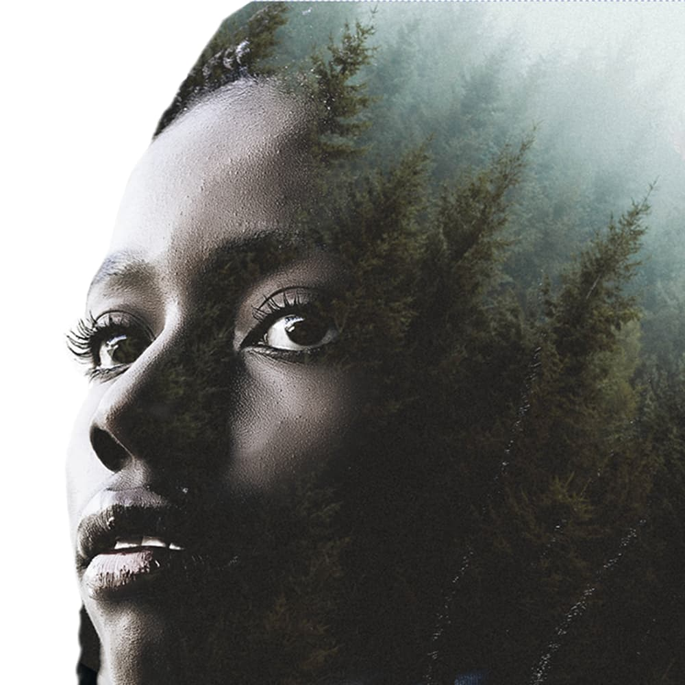 Multiple exposure effect on African-American girl, forest