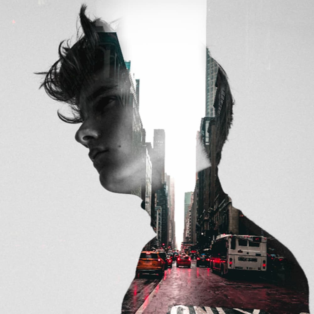 Double exposure effect, young man and the city, city background, poster