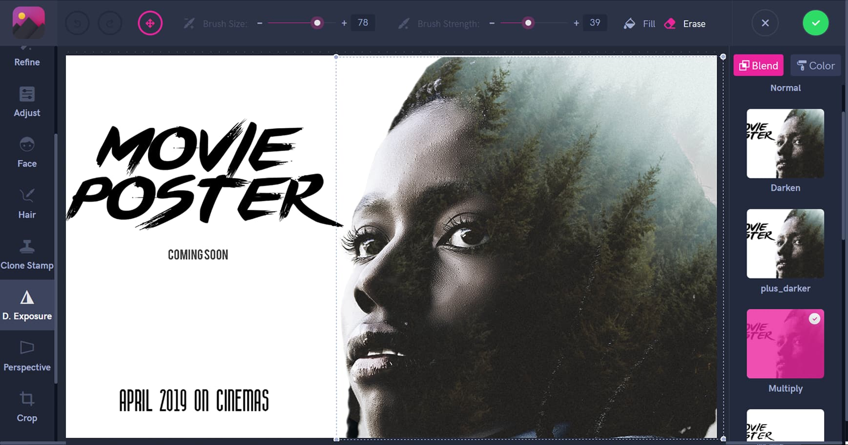 Movie poster creation using Double Exposure technique