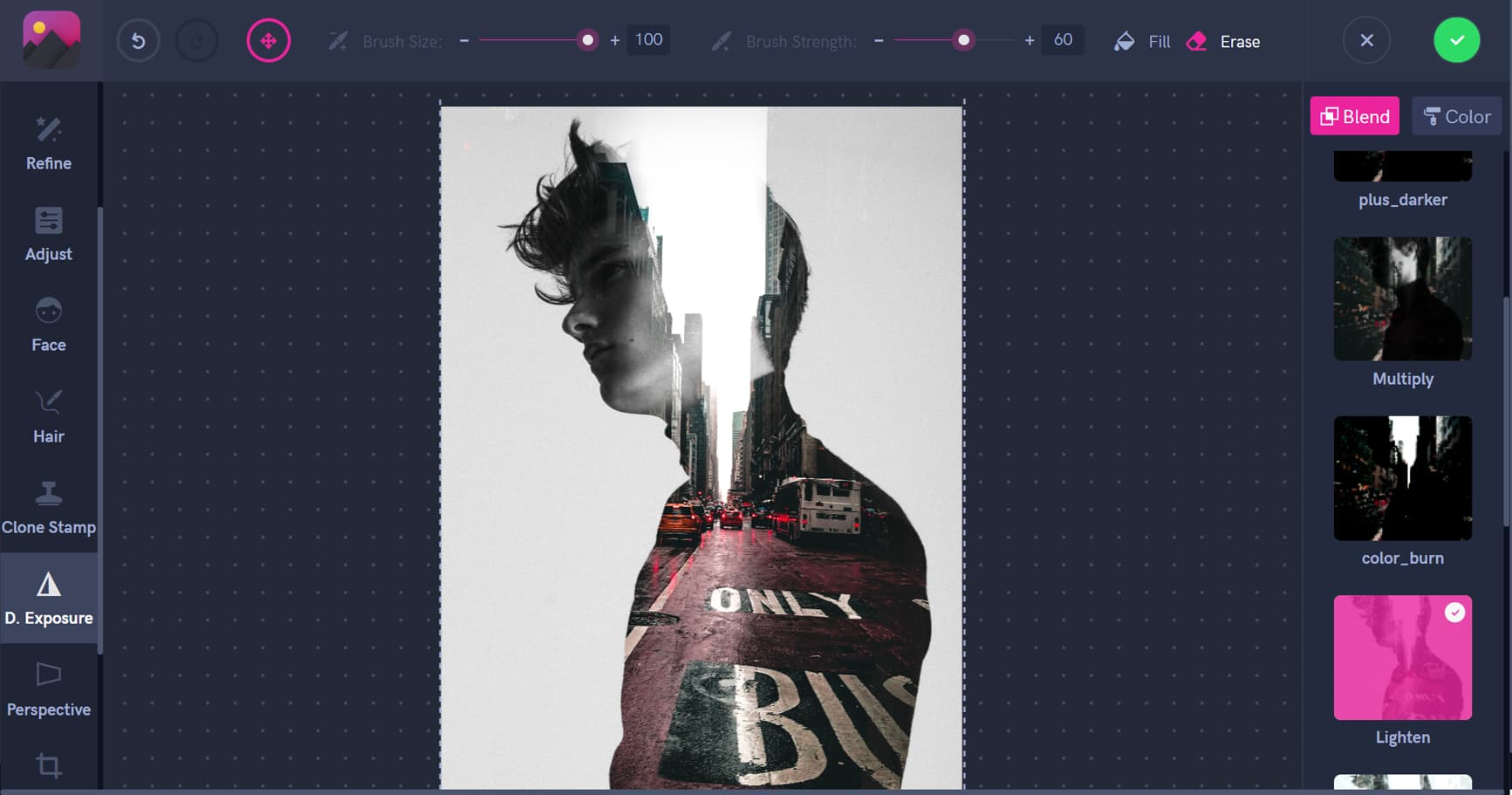 Double Exposure blending modes, man and the city, Pixomatic screenshot