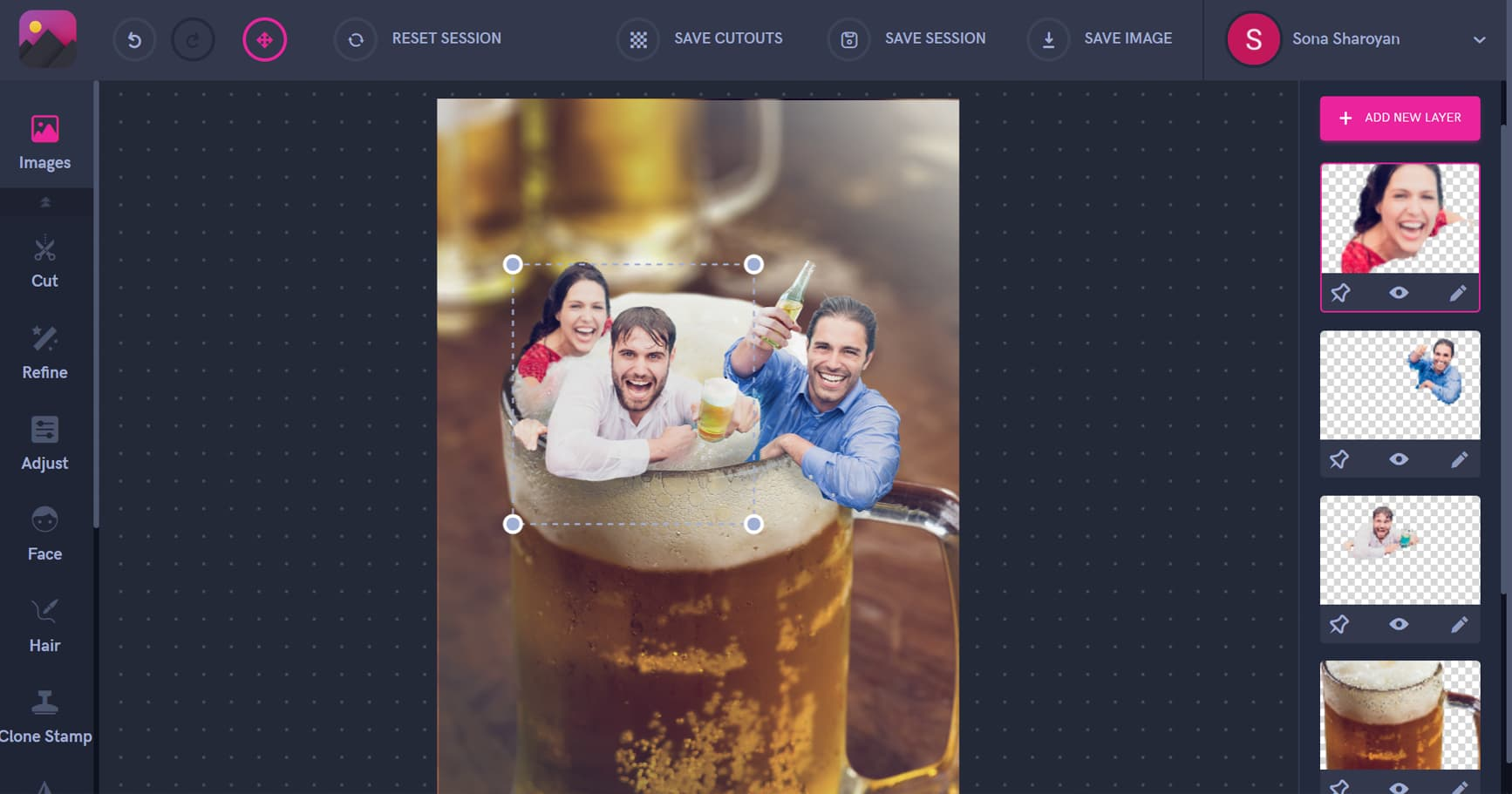 Working with layers, people in a beer stein, beer mug