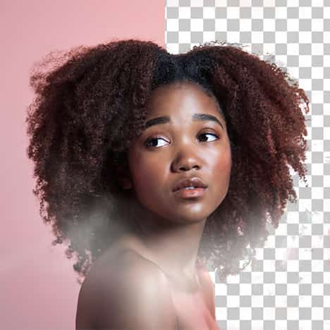 Hair tool, cutting hair, half-transparent photo with a curly girl